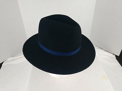 Womens Paul Smith 100% Wool Fedora Hat 100% Silk Lining Black Size S