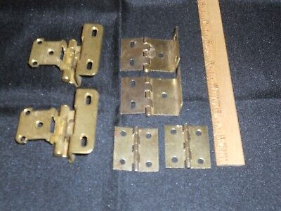 Bundle Of Mixed Brass Plated Hinges Four Offset/Two Butt Hinges Cabinet Hardware Brass Plated Butt Hinges