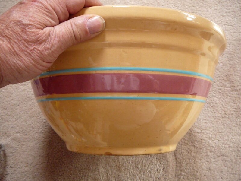 """WATT POTTERY Vintage 12"""" YELLOW WARE MIXING BOWL BLUE AND ROSE BANDS STONEWARE"""