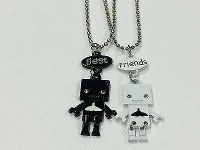 Best Friend Robot with Whale Tail on Belly 2 Pendant 2 Necklace Black/White