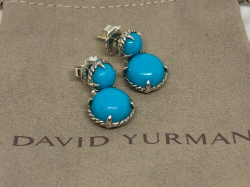 David Yurman Double Round Chatelaine Turquoise Drop Dangle Earrings