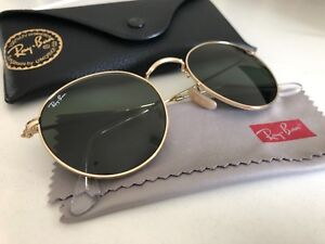 2984f564779 Ray-Ban 50 21 Round Gold Metal w Green Lenses Classic Sunglasses