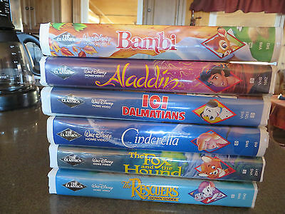 6-Walt Disney,Black Diamond Classic-Cinderella,Bambi,101 Dalmations,Aladin,VHS