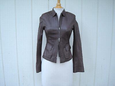 Sylvie Schimmel Brown Genuine Lamb Leather Zipper Women Coat Jacket 36 S France