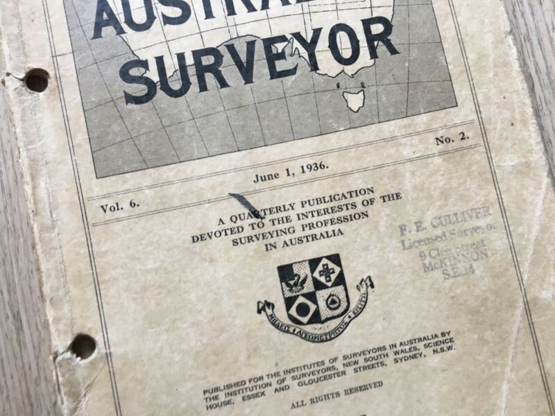 Details about JUNE 1936 'THE AUSTRALIAN SURVEYOR' VOL 6 NO 2 INST  OF  SURVEYORS MINES LAND