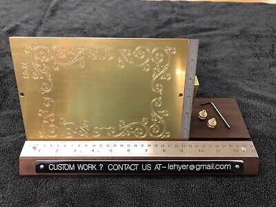 Large Flourish Scroll Work Solid Brass Engraving Plate For New Hermes Font Tray