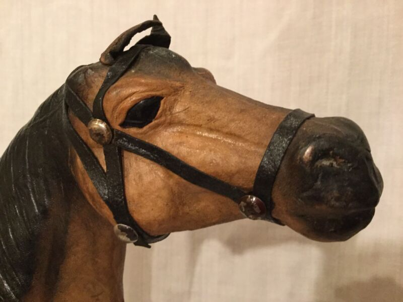 Vintage Carved Wooden Stately Horse Covered in Leather Wonderfully Crafted!