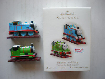 HALLMARK 2007 THOMAS AND PERCY THE TANK ENGINE TRAIN SET OF TWO CHRISTMAS FRIEND