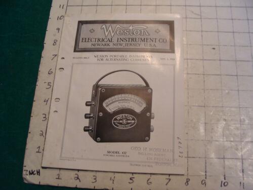 orig. 1922 WESTON Electric inst. bulletin: WESTON PORTABLE INSTRUMENTS alternate