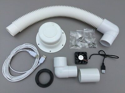Composting Toilet Fan Kit Screened Vent Ventilation Boat RV Marine Cabin Exhaust