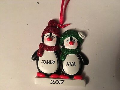 (Penguin Couple Family of Two Personalized Christmas Tree Ornament Holiday Gift)