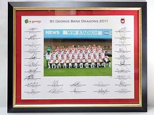 AUTOGRAPHED 2011 NRL ST GEORGE DRAGONS PHOTO FRAMED LTD EDN 3/50 St Leonards Willoughby Area Preview