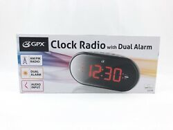 GPX Clock AM FM Radio With Dual Alarm Audio Input Battery Backup C253B NOB