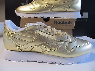 Womens Reebok x FACE STOCKHOLM Classic Leather CL Lthr Spirit Gold White V70668