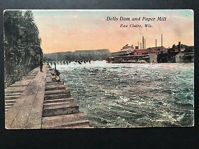 Postcard Eau Claire WI - c1900s View of the Dells Dam and Paper Mill