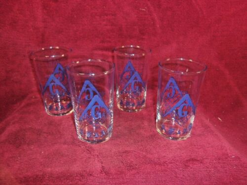 """Vintage Set of 4 Masonic 4.5"""" Drinking Glasses, Great Condition"""