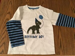 GYMBOREE BRAND BIRTHDAY BOY SIZE 4T LONG SLEEVE SHIRT