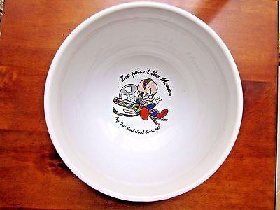 "Vintage Warner Brothers ""See you at the Movies"" large Ceramic Popcorn Bowl"