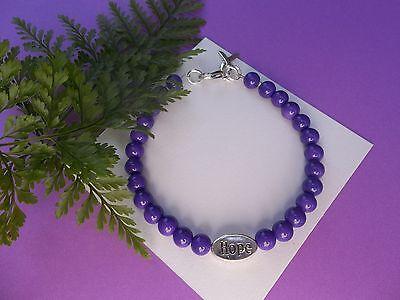 Pancreatic Cancer Lupus Fibromyalgia Awareness Purple  Beaded Hope Bracelet