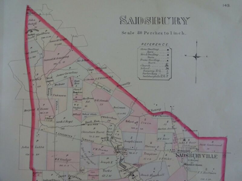 HISTORIC 1883 Map of the Township of Sadsbury, PA  - Property Specific Detail
