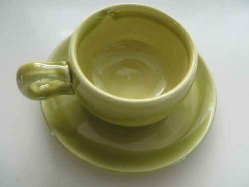 Russel Wright American modern demitasse cup and saucer chartreuse