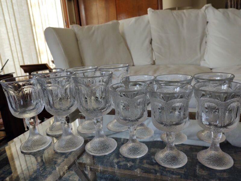 Set 12 Heavy Vintage Pressed Glass Water & Wine Goblets