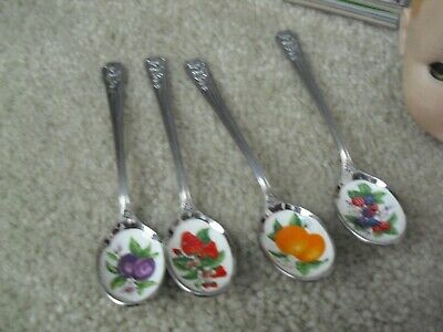 Lot of 4 Vintage Avon Collector Spoons Fruit Peach Berries Plum Strawberry