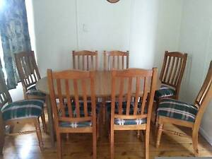 Extendable Dining Table and Eight Chairs Panania Bankstown Area Preview