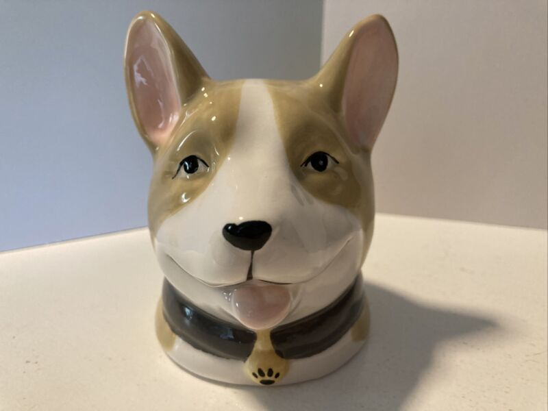 NWT Pembroke Welsh CORGI Bust Figurine Pencil Holder Planter Molly & Rex