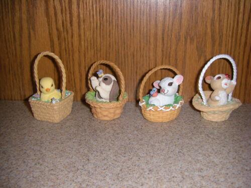 2001 Hallmark Easter Basket Figurines Ornaments Bashful Bunny Lovely Lamb Chick