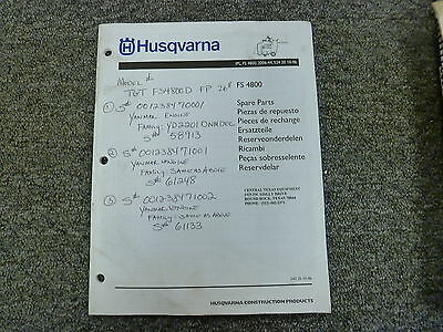 Husqvarna Model Fs4800 Concrete Road Floor Saw Parts Catalog Manual Book