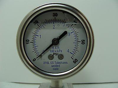301lfw-254d 2.5 Glycerin Filled Ss 316 Internals Gauge 14 Npt Lm 060 Psi