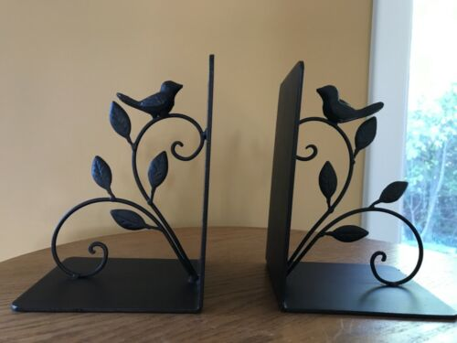 Rustic Metal Perched Song Bird On Branch painted bookends -Farmhouse-Country