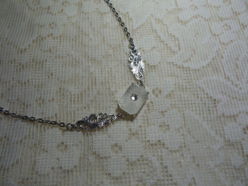 """HANDMADE  EMERALD CUT VINTAGE SUNRAY CRYSTAL FROSTED CAMPHOR GLASS NECKLACE 21"""""""