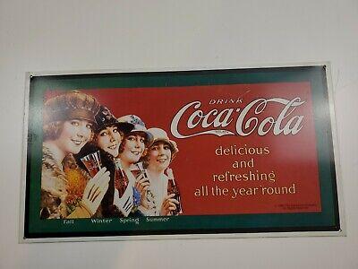 Vintage Metal Sign DRINK COCA-COLA 4 Ladies as Four Seasons 1993