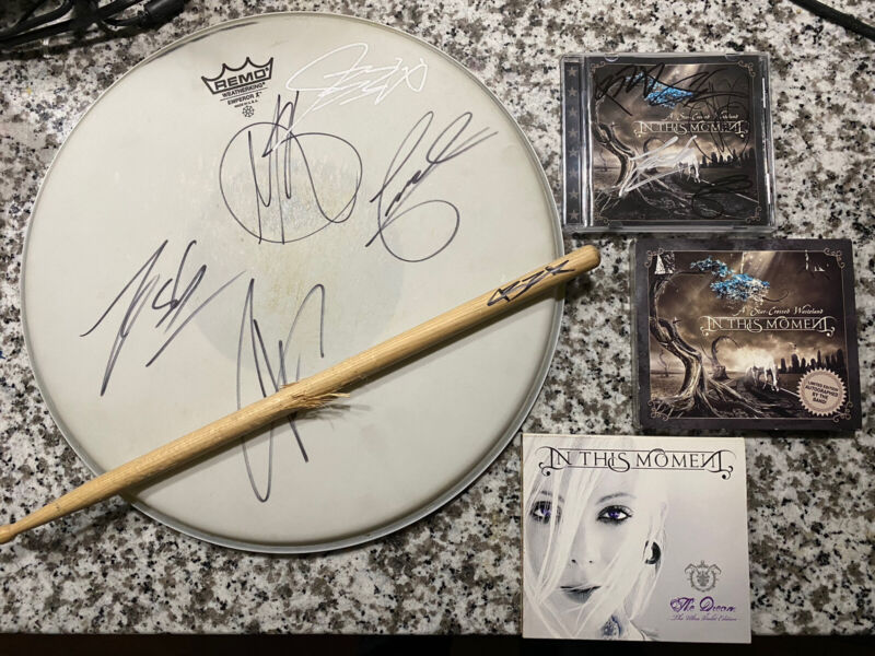 In This Moment Signed Bundle! Maria Brink Drumhead Starcrossed Wasteland