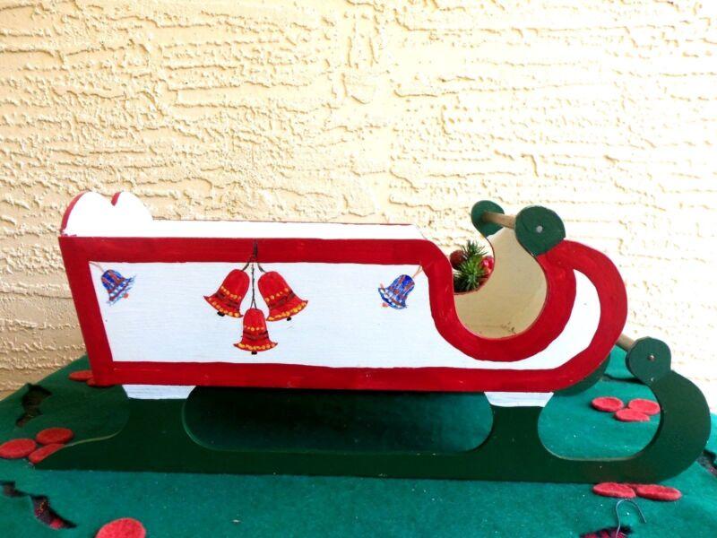 VINTAGE LRG WOOD SLED/SLEIGH TABLE CHRISTMAS DECORATION