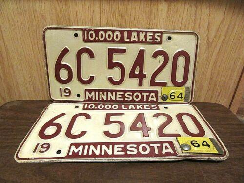 Pair of 1964 Minnesota 420 License Plates Tag # 6C5-420 Cannabis Marijuana