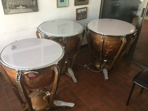 "ORIGINAL AND HONEST SET OF THREE LUDWIG ""PROFESSIONAL"" TIMPANI, NEW HEADS&GAUGES"
