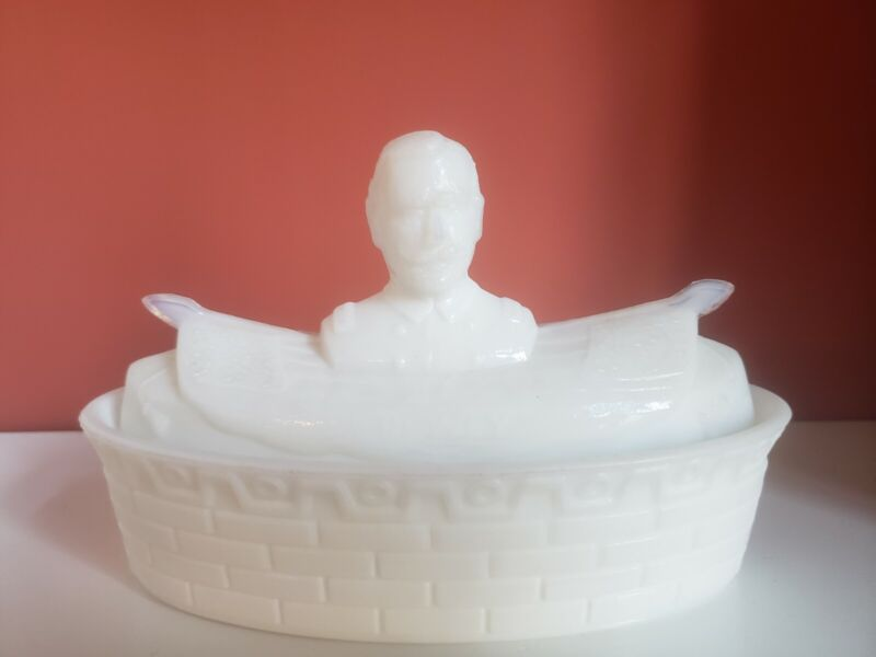 Covered Milk Glass Butter Dish - Battleship with Adm. George Dewey