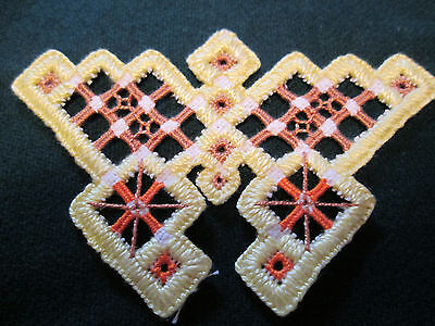 Hardanger Butterfly Norwegian Embroidery Yellow - Brown
