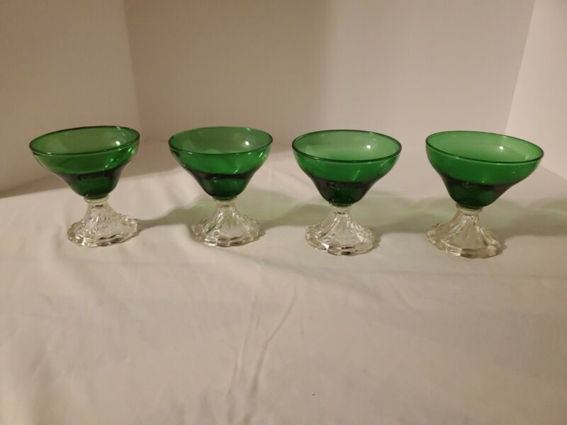 """Anchor Hocking Forest Green 4"""" Burple Boopie Bubble 4oz Glass - SET of 4 Glasses"""