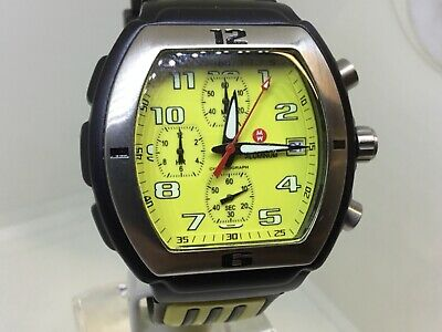 Michele Sport Aluminum Chronograph Watch 71-197-A FERRARI PORSCHE YELLOW WATCH