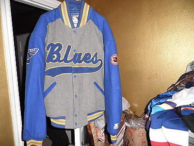 Vintage St Louis Blues Throwback Wool Varsity Starter Jacket Large Mint!