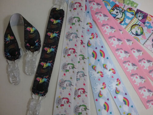 MITTEN CLIPS x 1pr unicorn ribbon girls boys kids glove holders savers gift idea