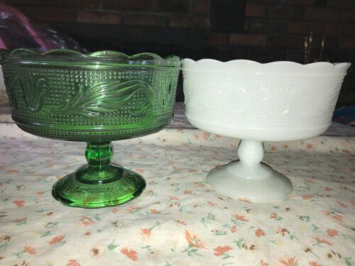 2 VTG E O BRODY Green & White Milk Glass Floral Pedestal M6000 Bowl Scallop Edge