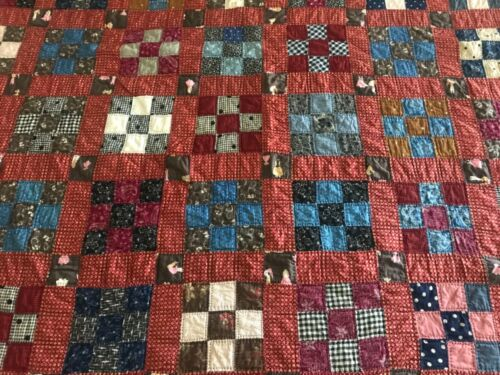 """1880-90's Nine 9-PATCH Quilt w/ VIBRANT Colors 64""""x77"""" -GREAT 19th Cent. Fabrics"""