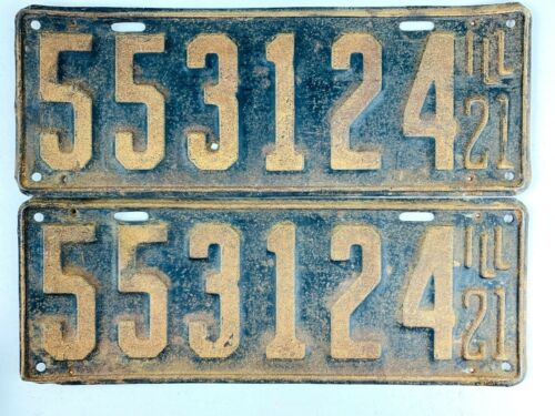 Illinois 1921 Vintage License Plate Pair Old Antique Car Set Man Cave Collect