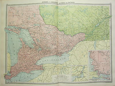 1920 LARGE MAP ~ CANADA WESTERN QUEBEC & ONTARIO MONTREAL ENVIRONS