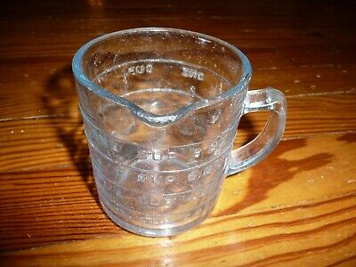 VTG Fire King Oven GLASS MEASURING CUP with Handle ONE CUP Raised numbers (Glasses Measurement Numbers)